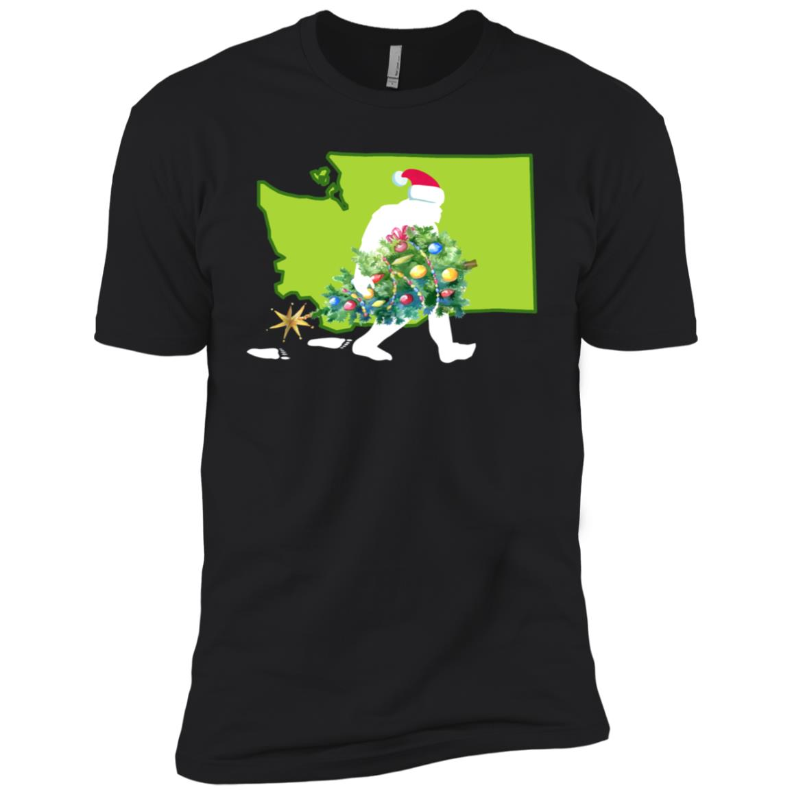 Washington Bigfoot State Christmas Tree Men Short Sleeve T-Shirt