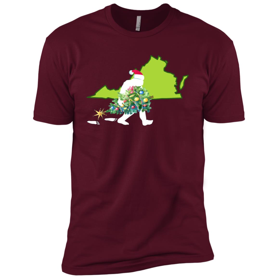 Virginia Bigfoot State Christmas Tree Men Short Sleeve T-Shirt