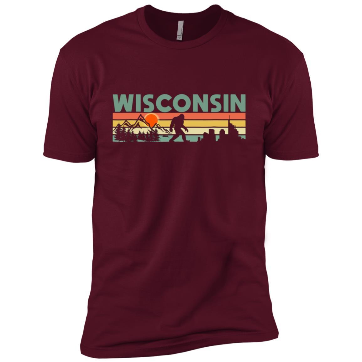 Vintage Wisconsin Bigfoot Silhouette Sun – Believe! Men Short Sleeve T-Shirt