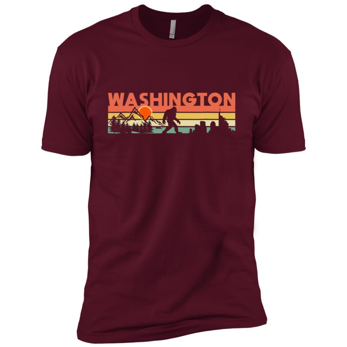 Vintage Washington Bigfoot Silhouette Sun – Believe! Men Short Sleeve T-Shirt