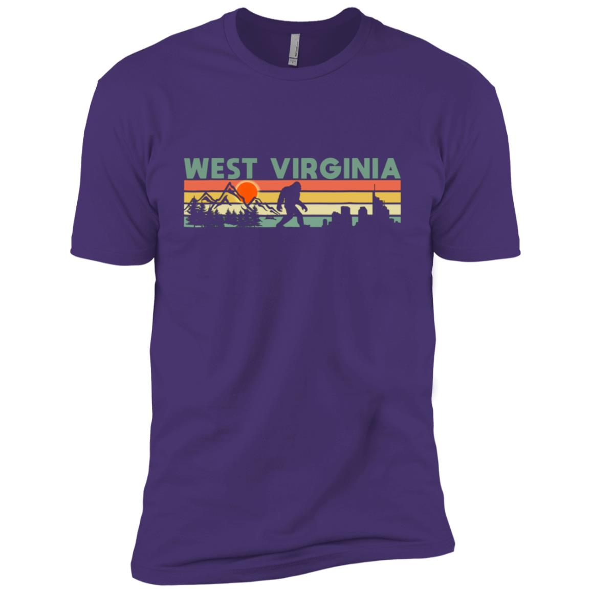 Vintage West Virginia Bigfoot Silhouette Sun Men Short Sleeve T-Shirt