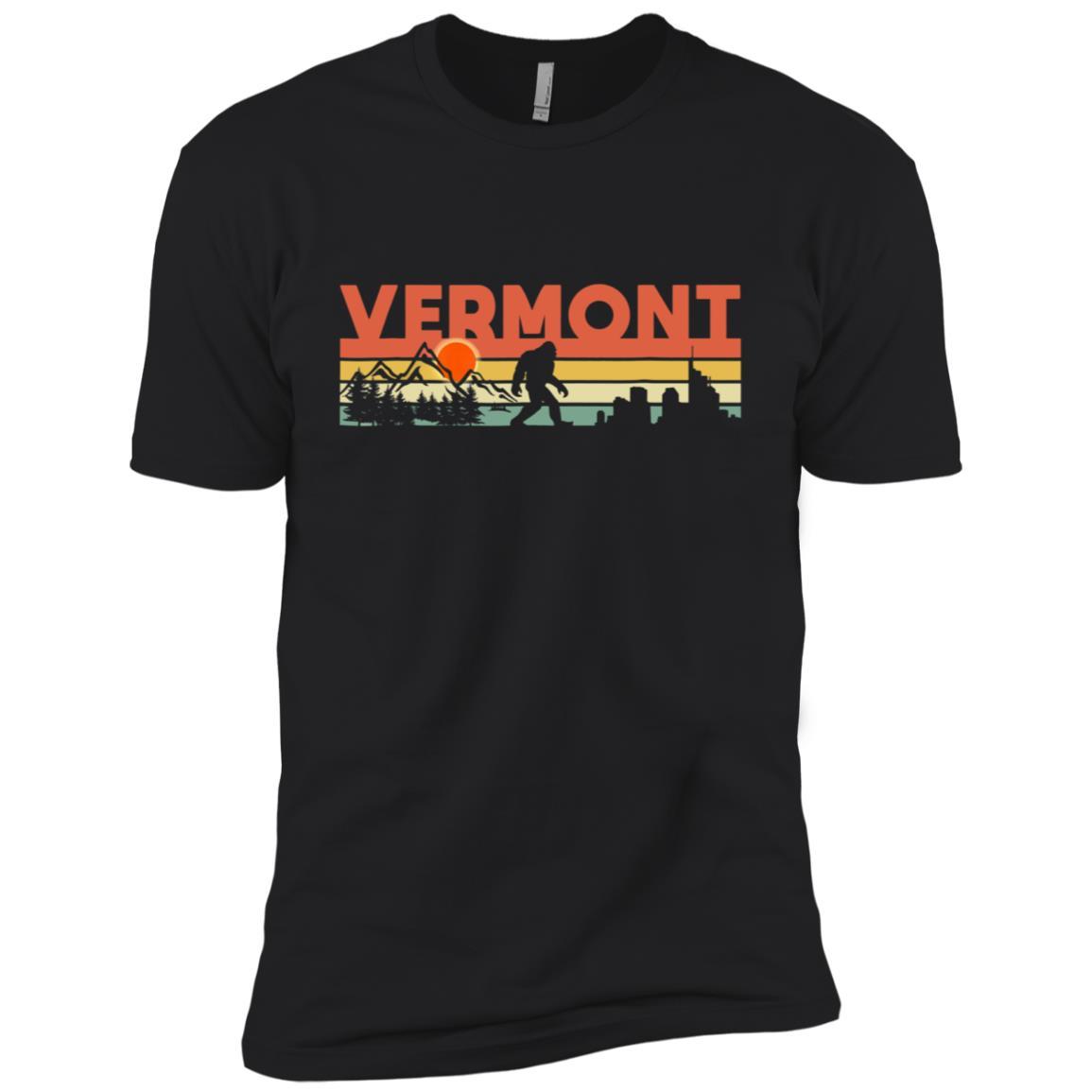 Vintage Vermont Bigfoot Silhouette Sun – Believe! Men Short Sleeve T-Shirt