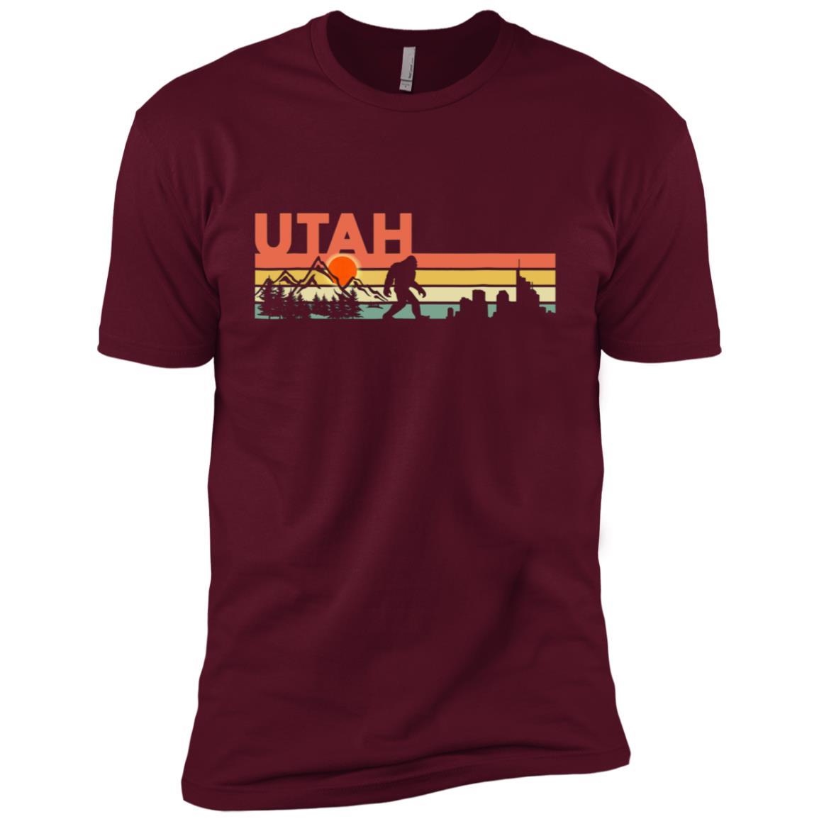 Vintage Utah Bigfoot Silhouette Sun – Believe! Men Short Sleeve T-Shirt
