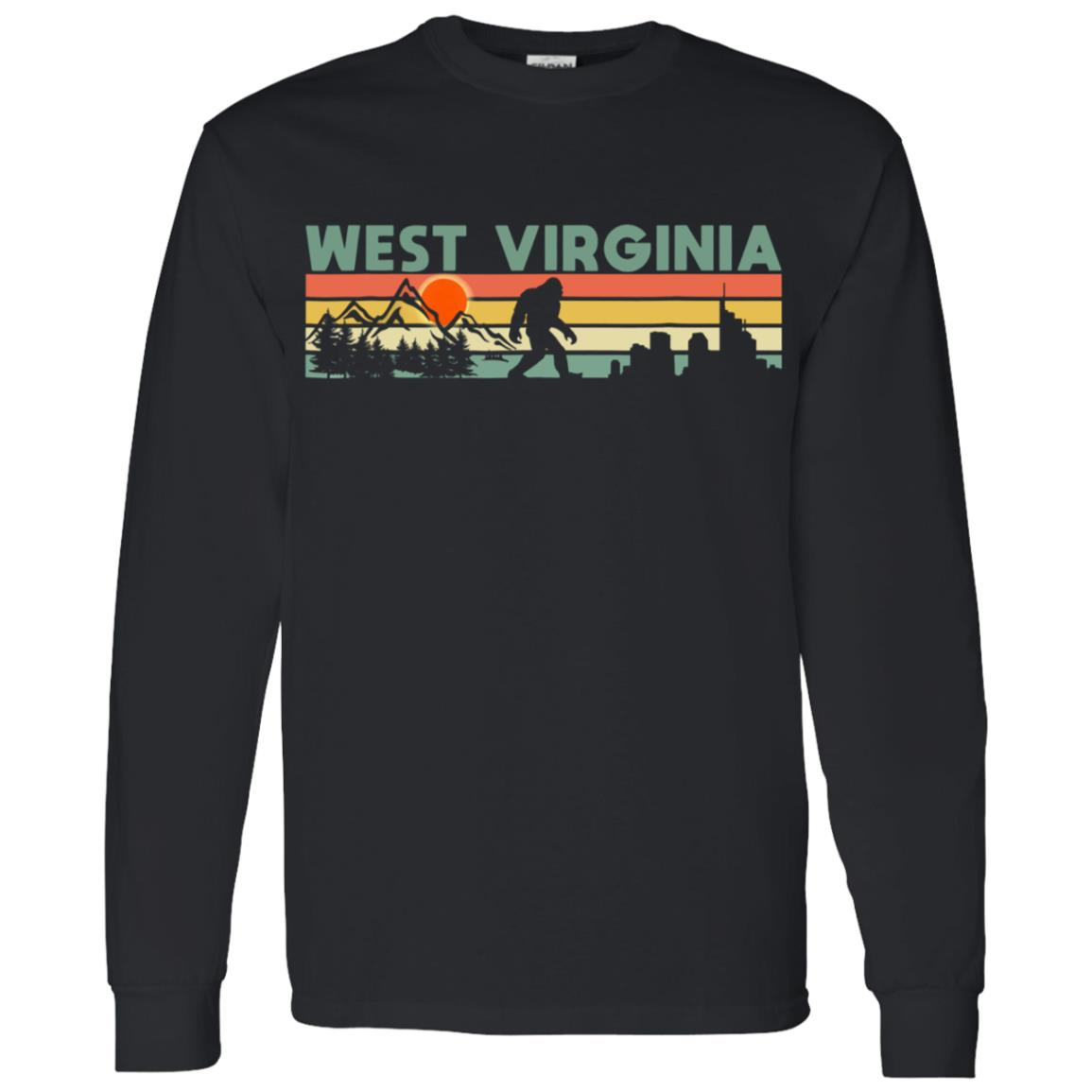 Vintage West Virginia Bigfoot Silhouette Sun Men Long Sleeve T-Shirt
