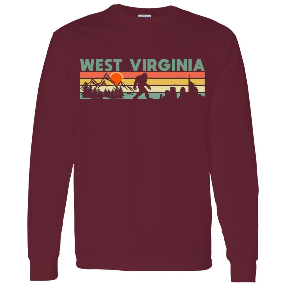 Vintage West Virginia Bigfoot Silhouette Sun Men Long Sleeve T-Shirt
