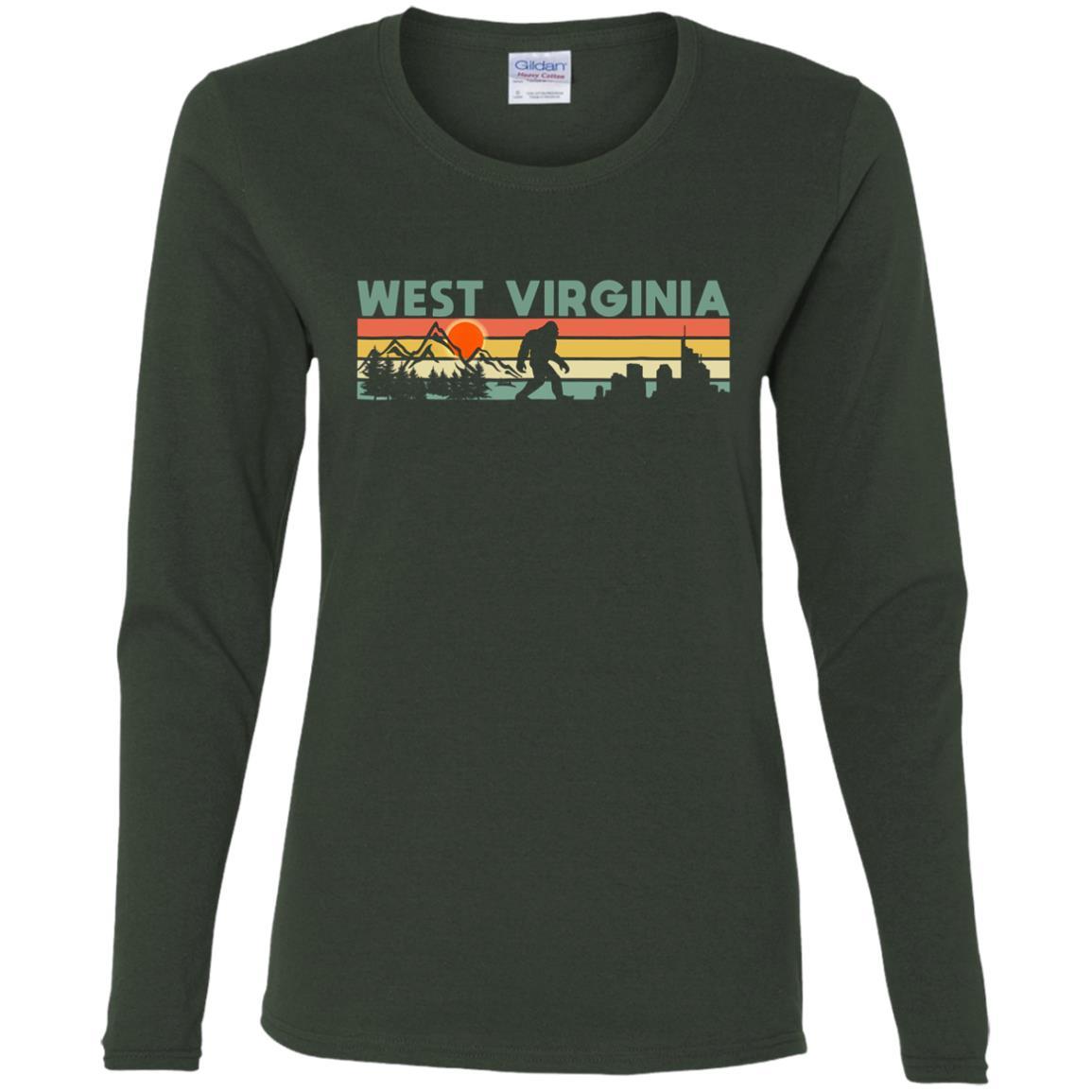 Vintage West Virginia Bigfoot Silhouette Sun Women Long Sleeve T-Shirt