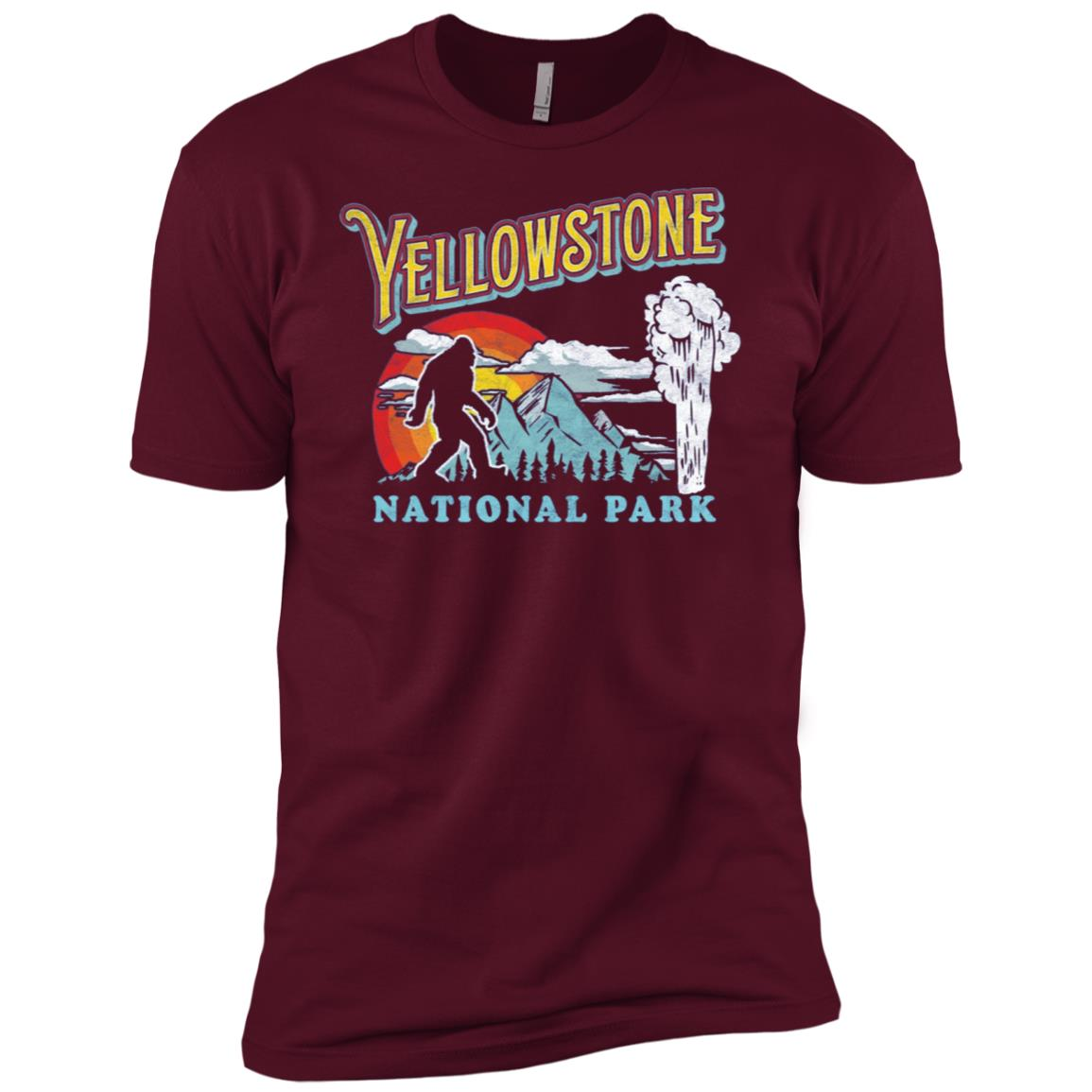 Yellowstone Bigfoot National Park Geyser Men Short Sleeve T-Shirt