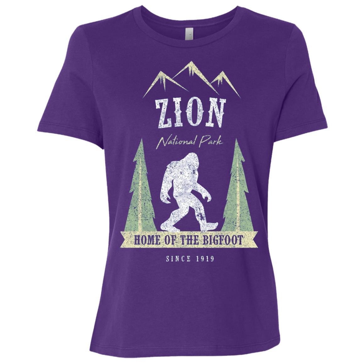 Zion National Park Vintage Bigfoot Utah Gift Women Short Sleeve T-Shirt