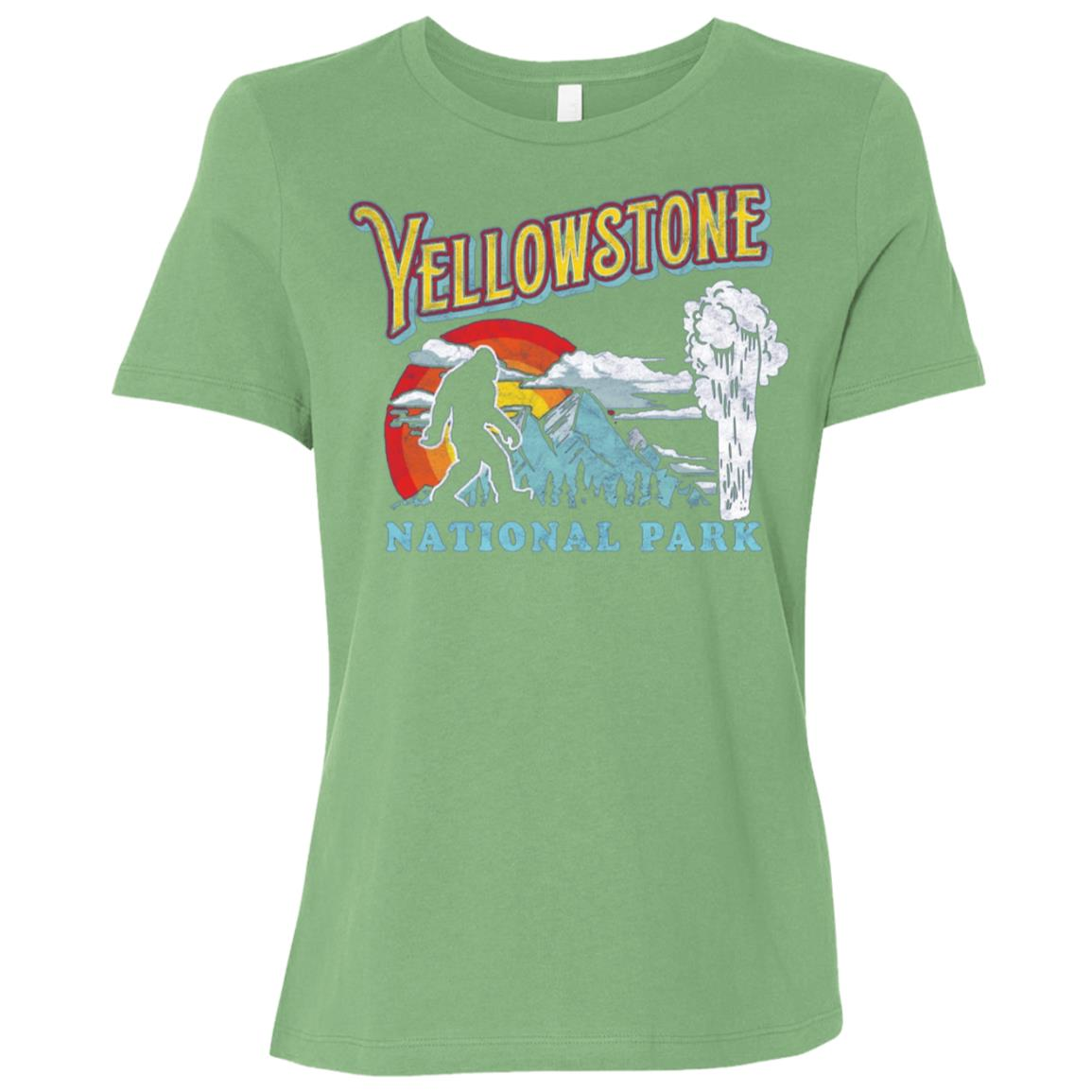 Yellowstone Bigfoot National Park Geyser Women Short Sleeve T-Shirt