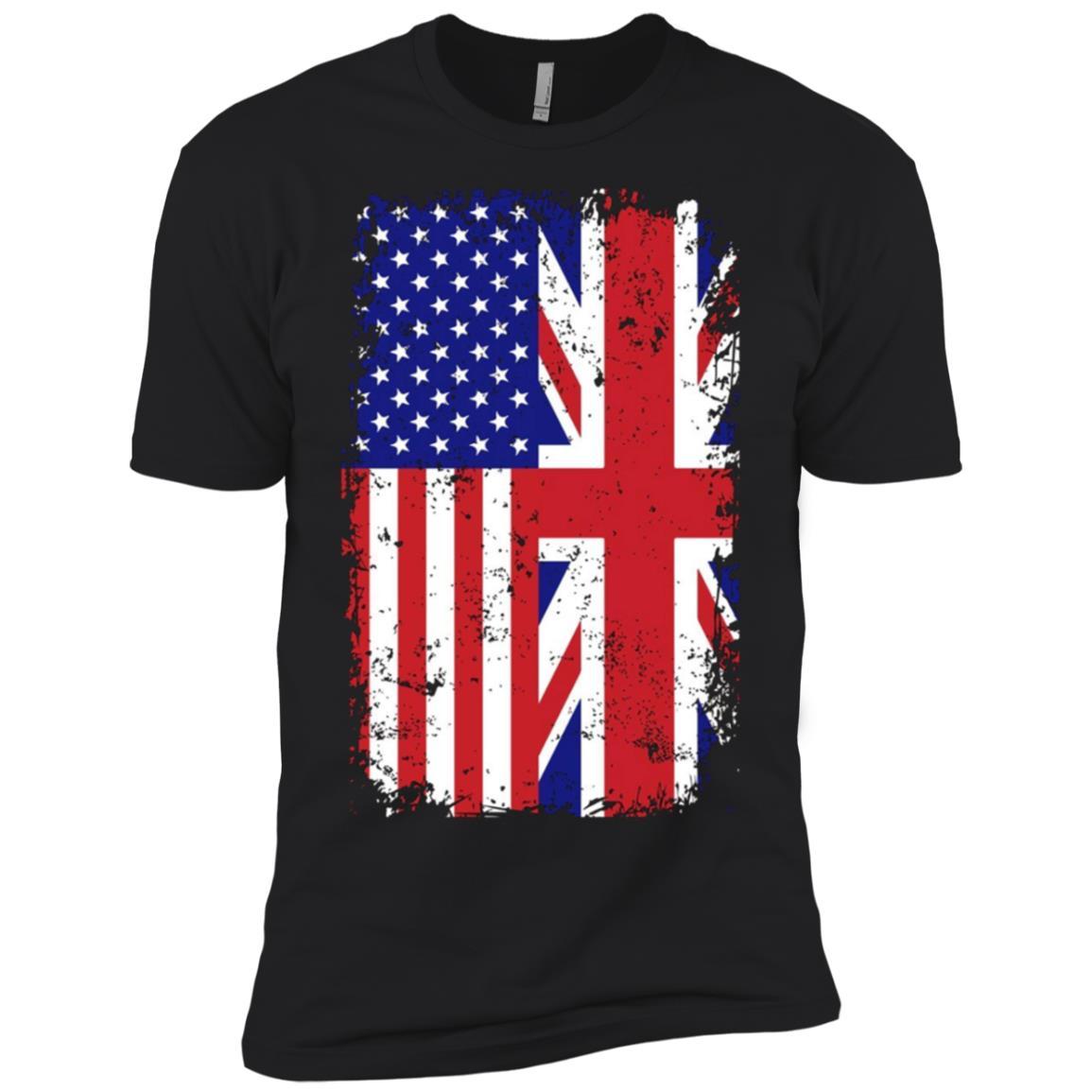 British American Flag Half English Britain Roots Tee Men Short Sleeve T-Shirt