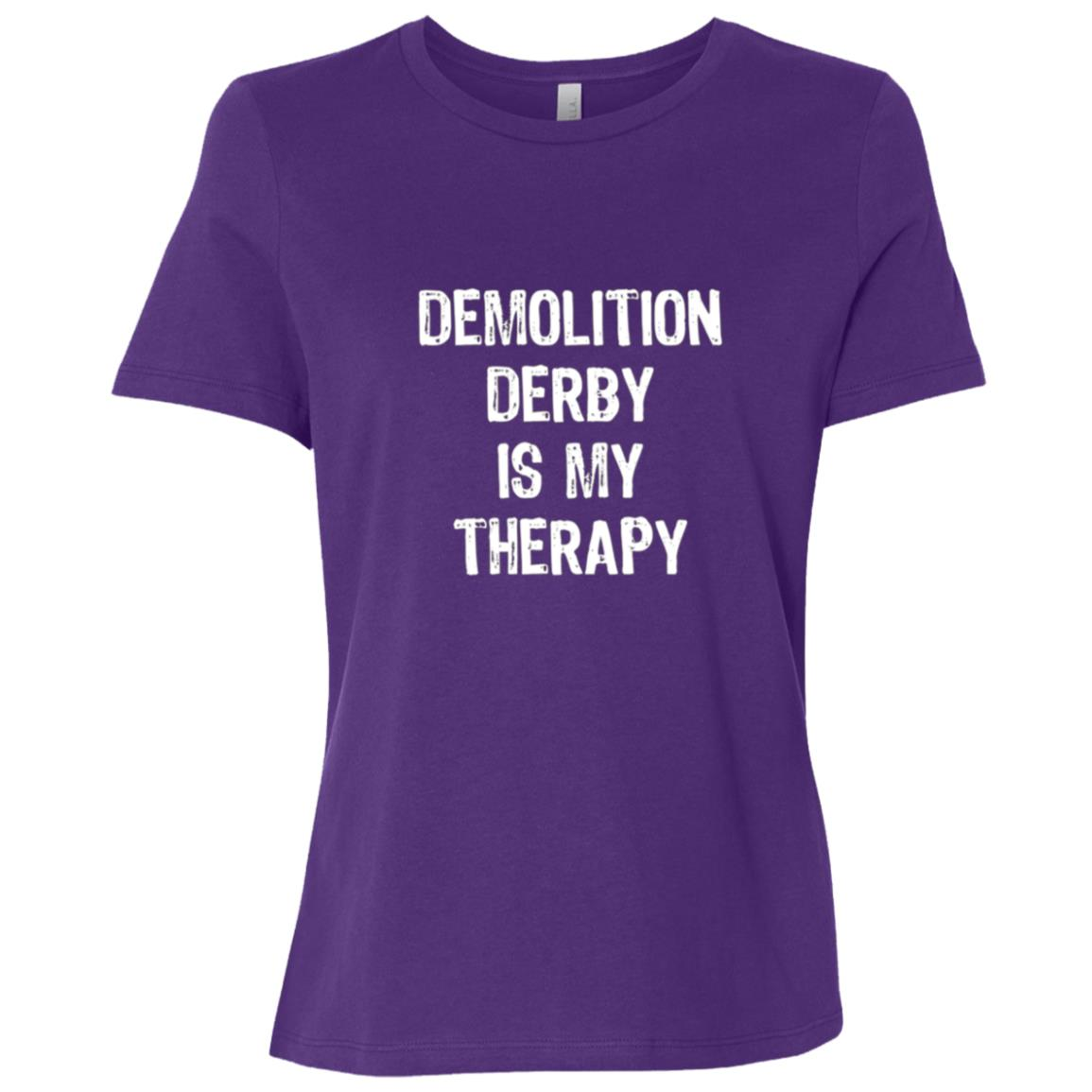 Demolition Derby Is My Therapy Funny Women Short Sleeve T-Shirt