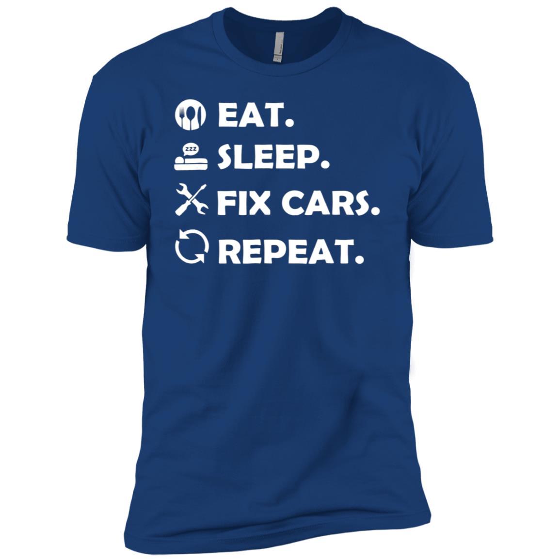 Eat Sleep Fix Cars Repeat Funny Mechanic Men Short Sleeve T-Shirt
