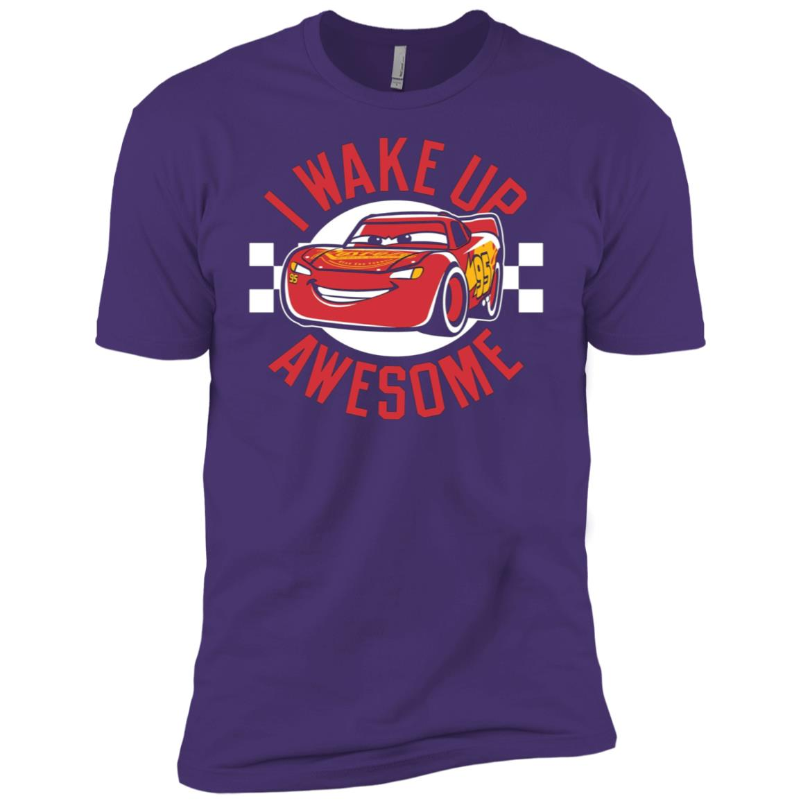 Disney Pixar Cars 3 McQueen Wake Up Awesome Graphic Men Short Sleeve T-Shirt