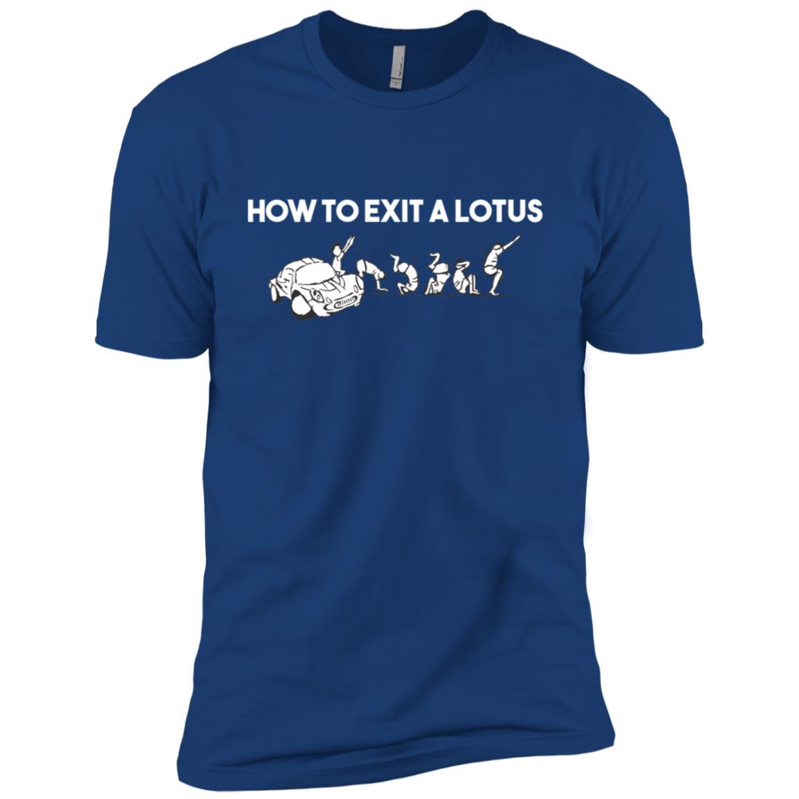 How To Exit A Lotus Racing Car Funny Joke Autocross Drag Tee Men Short Sleeve T-Shirt