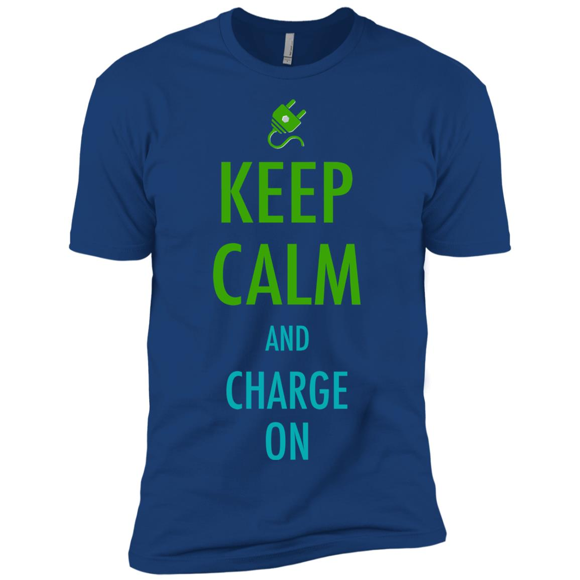Keep Calm And Charge On For Electric Car Owner Men Short Sleeve T-Shirt