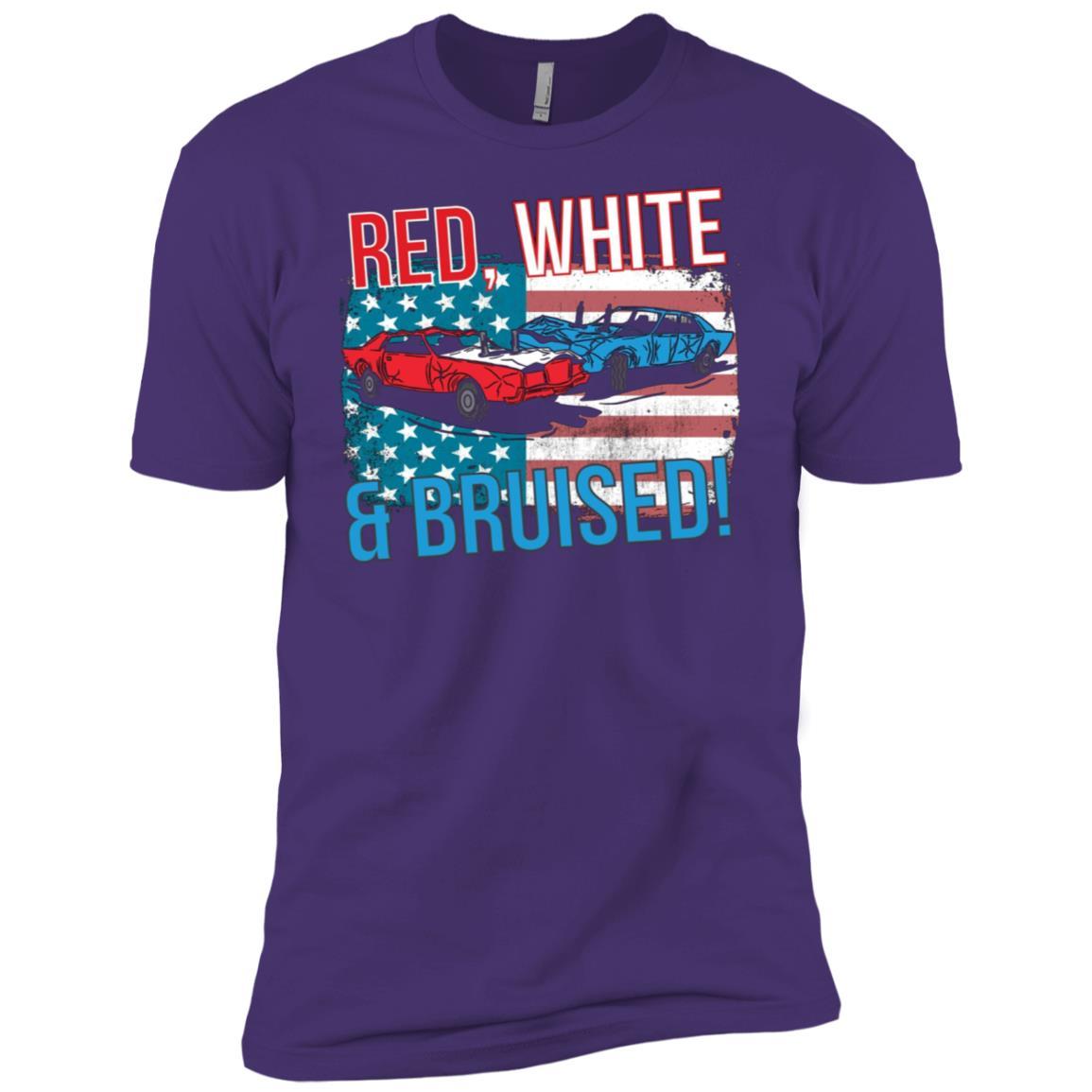 Red White & Bruised American Flag Demolition Derby Car Men Short Sleeve T-Shirt