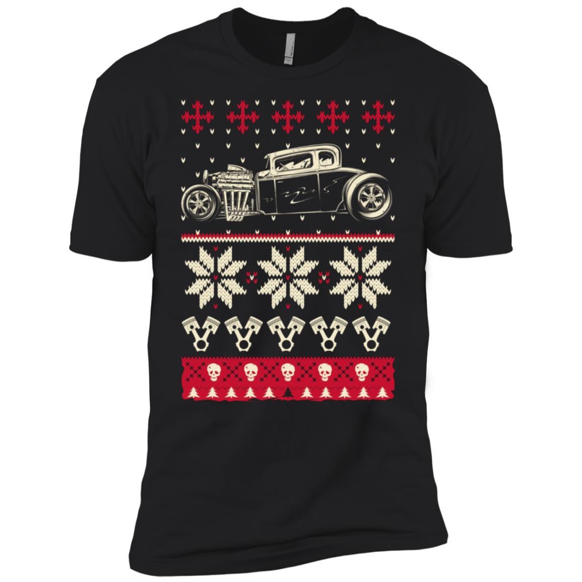 Ugly Hot Rod Christmas Sweater Men Short Sleeve T-Shirt