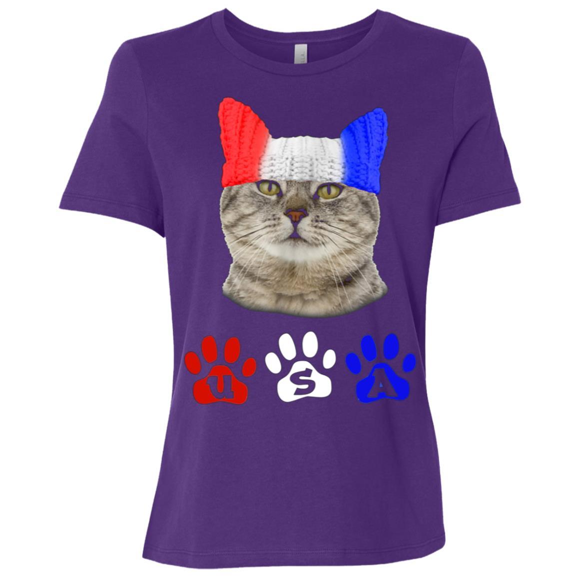 4th of July USA Cat Women Short Sleeve T-Shirt