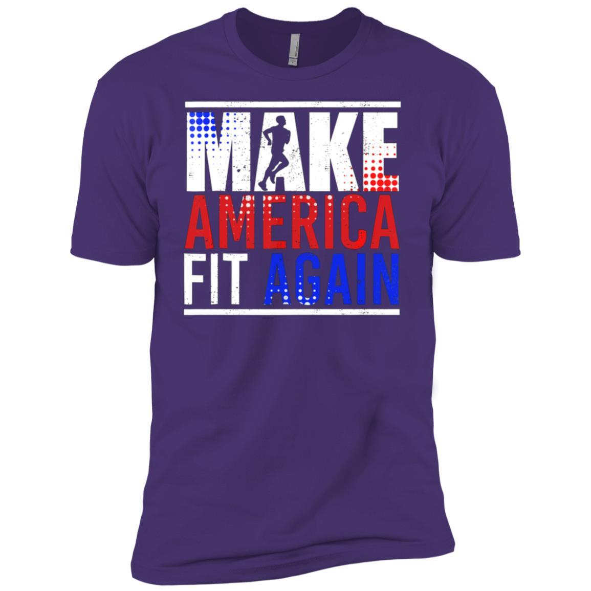 Make America Fit Again Funny Fitness Exercise Tee Men Short Sleeve T-Shirt