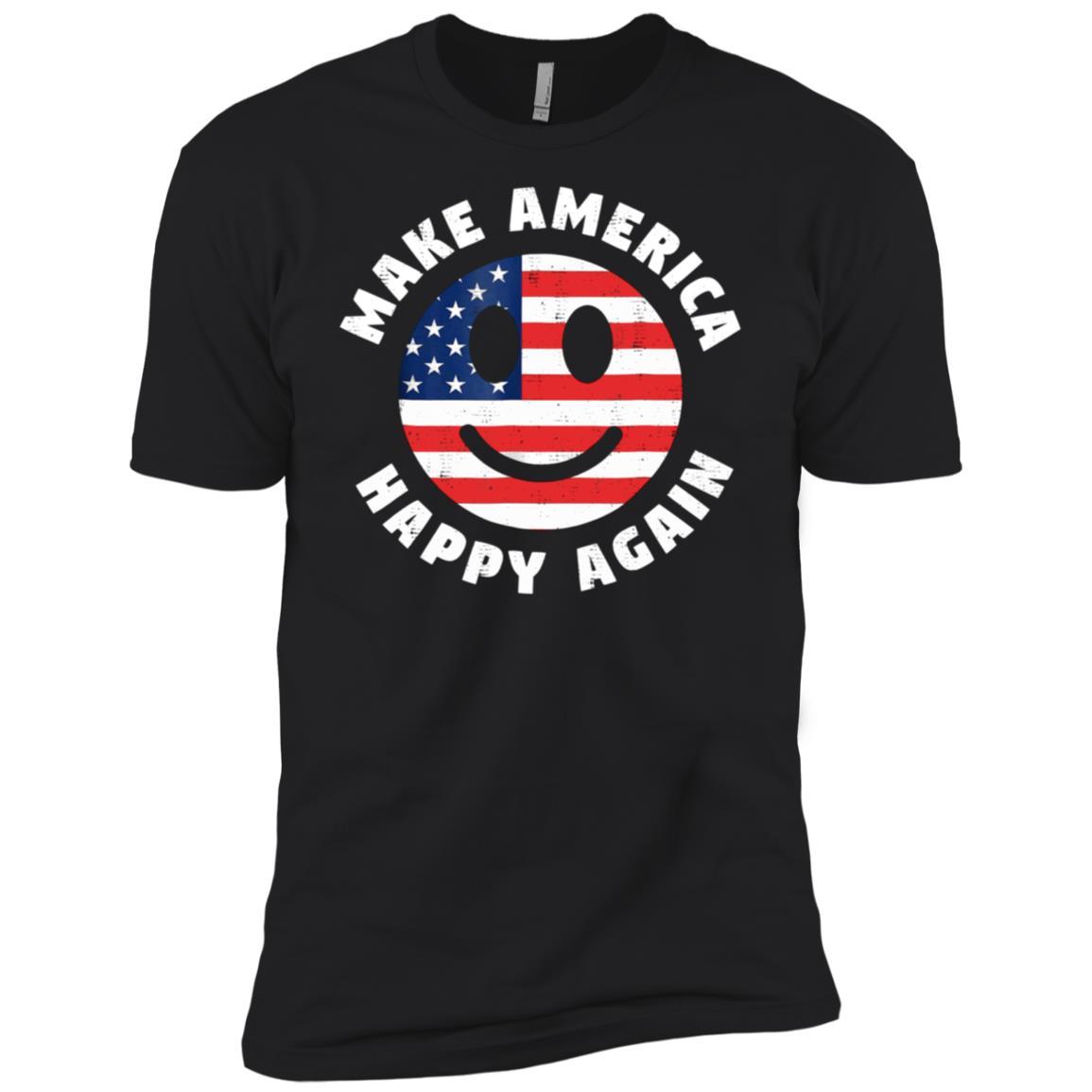 Make America Happy Again Funny Smiley Face Tee Men Short Sleeve T-Shirt