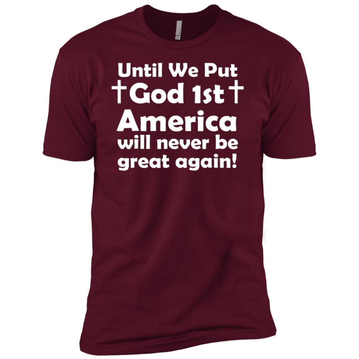 Put God 1st Christian American Church Bible Verse Men Short Sleeve T-Shirt
