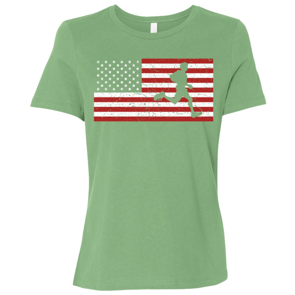 American Flag Running Runner Gift Men Women Women Short Sleeve T-Shirt