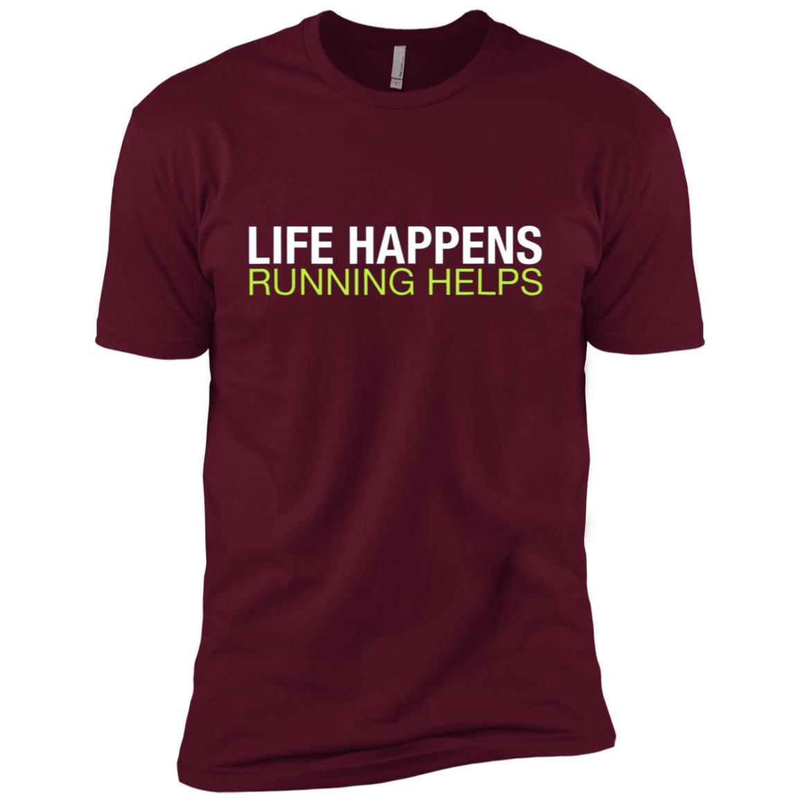 Funny Running Life Happens Runner Jogger Life Men Short Sleeve T-Shirt