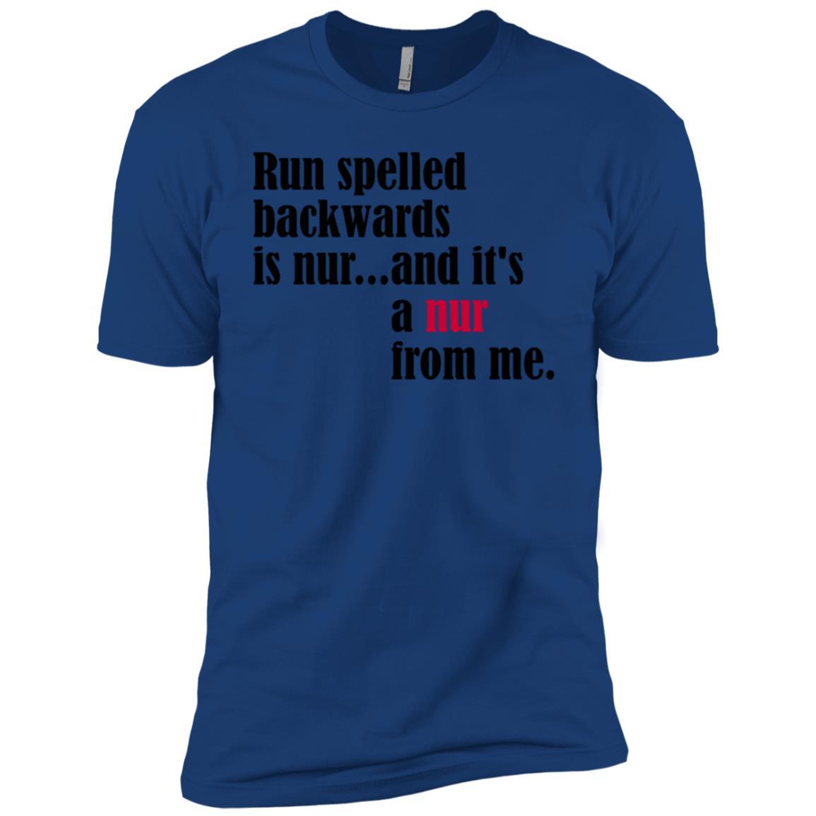 Funny Run Spelled Backwards Runner Joke Men Short Sleeve T-Shirt