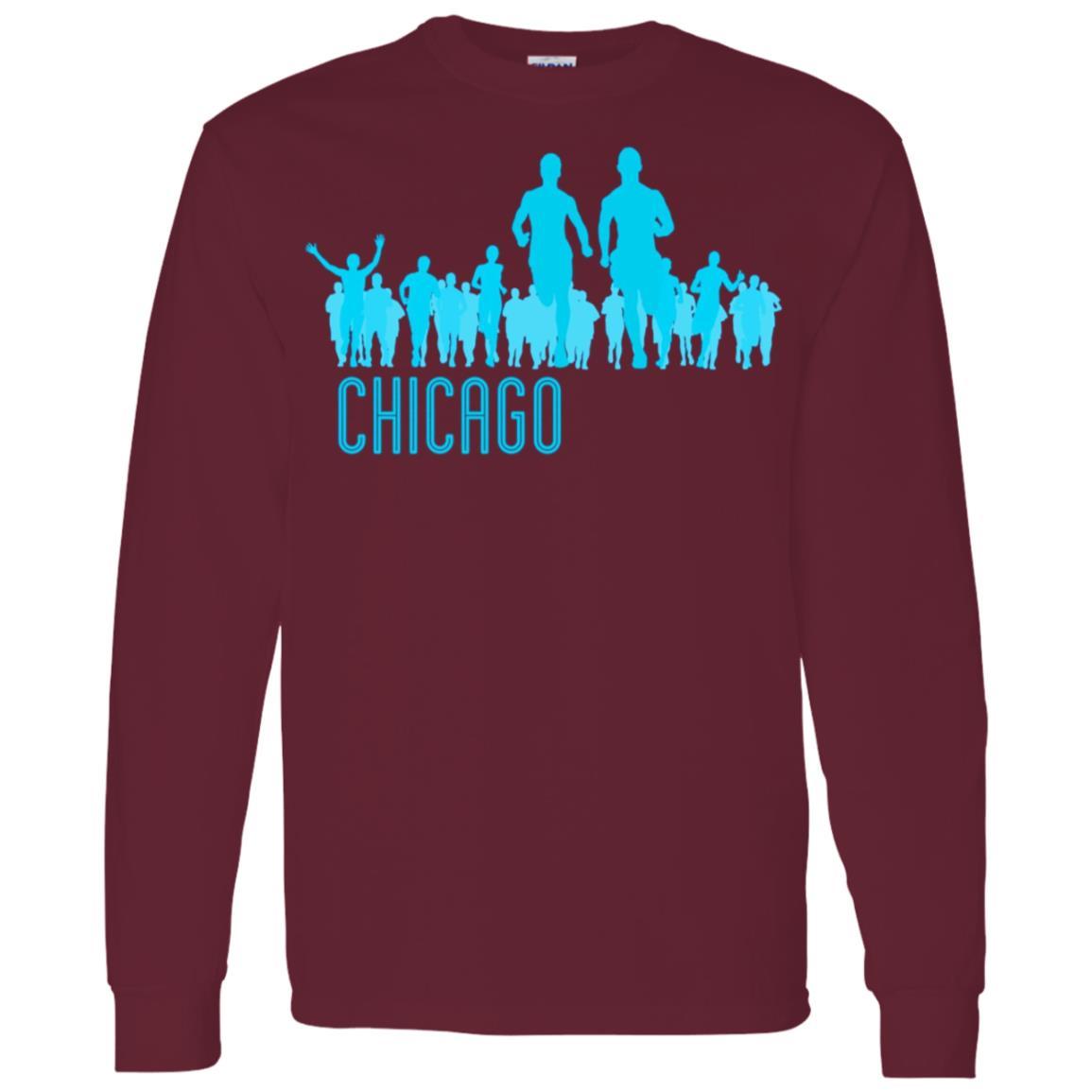 Chicago Running AQUA Men Long Sleeve T-Shirt