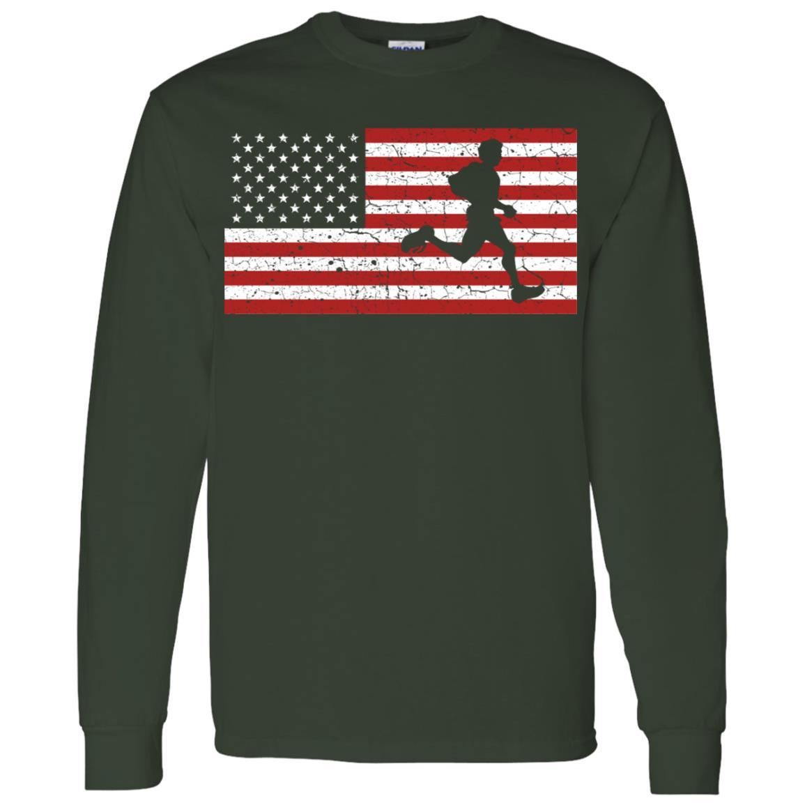 American Flag Running Runner Gift Men Women Men Long Sleeve T-Shirt