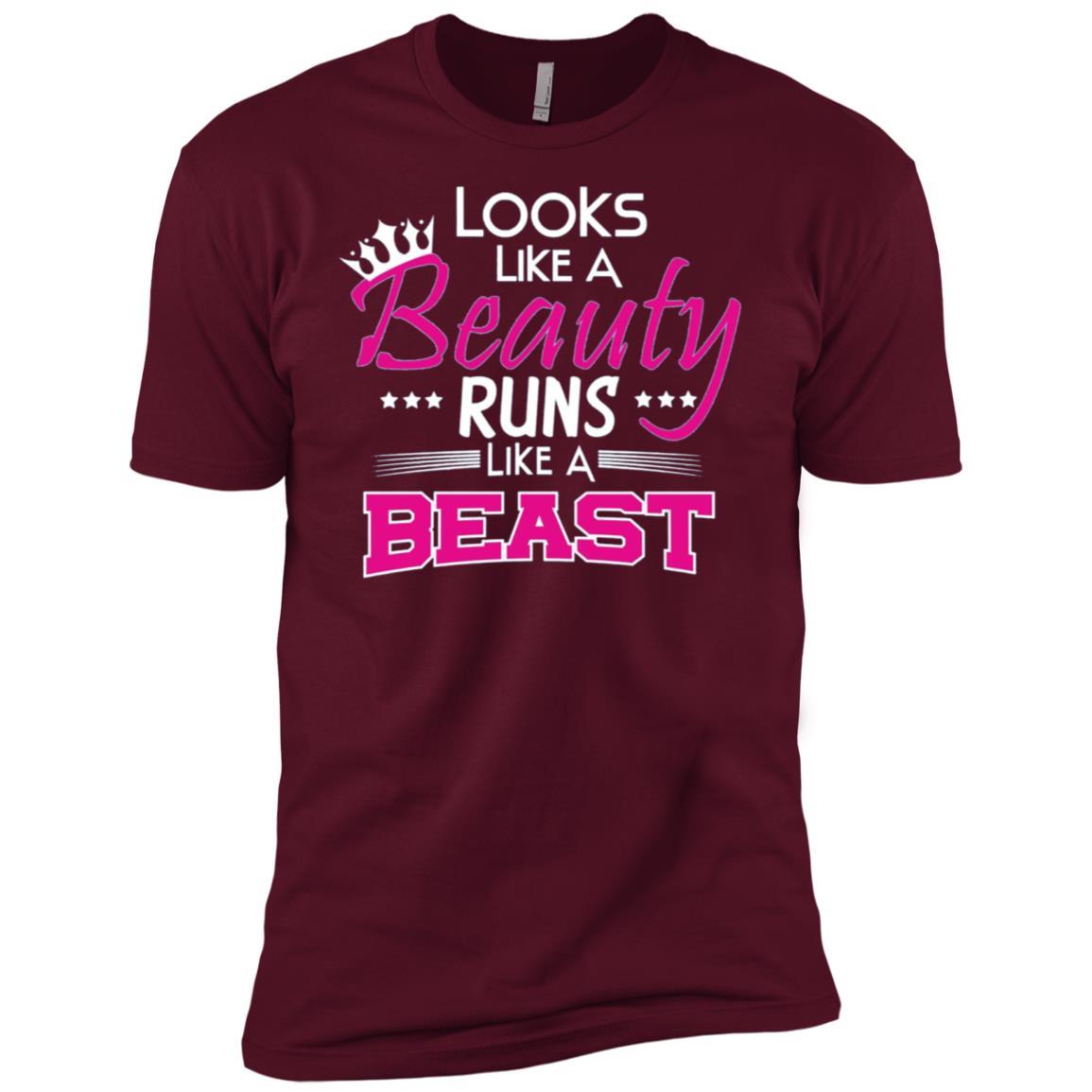 Looks Like A Beauty Runs Like A Beast Running Women Men Short Sleeve T-Shirt
