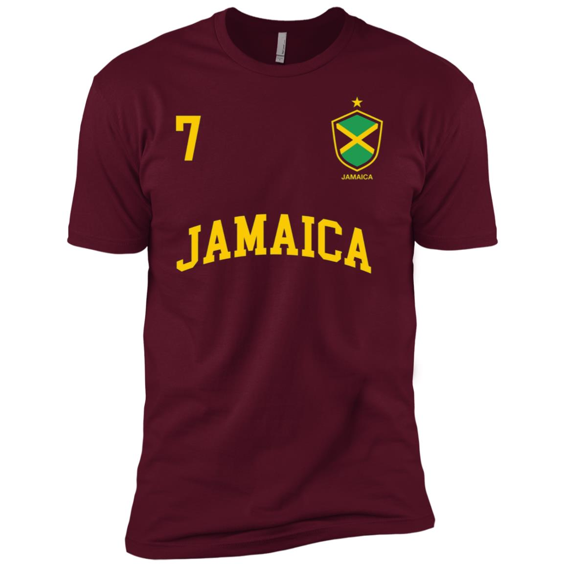 Jamaica Number 7 BACK Soccer Team Sport Jamaican Flag Men Short Sleeve T-Shirt