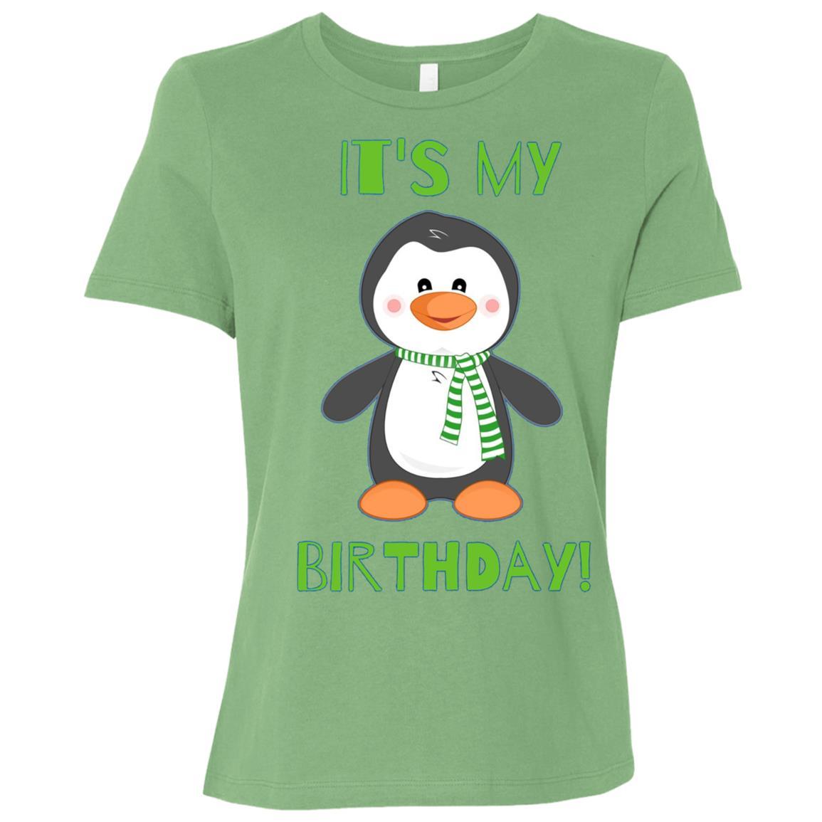 It's My Birthday Cute Penguin Bday Women Short Sleeve T-Shirt