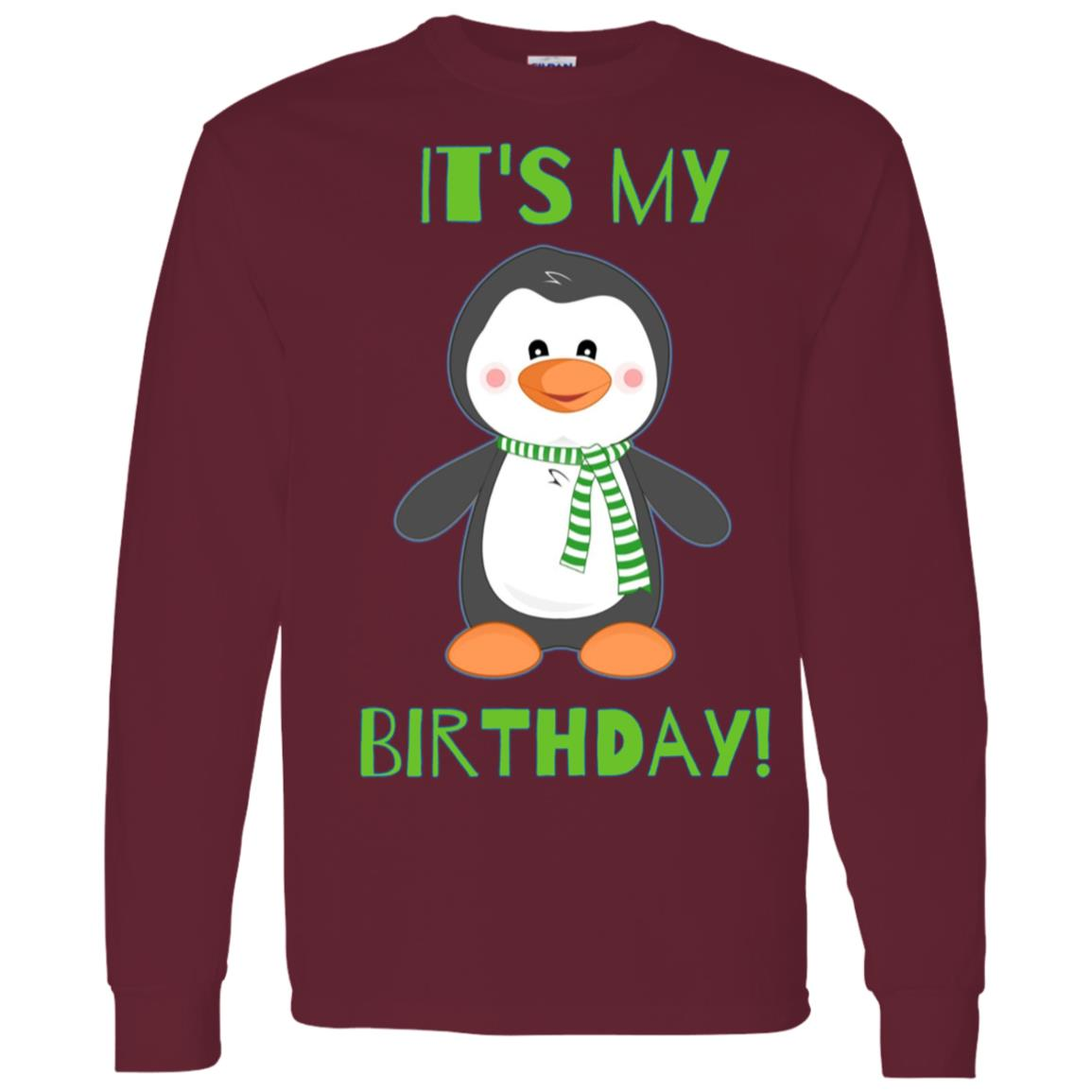 It's My Birthday Cute Penguin Bday Men Long Sleeve T-Shirt