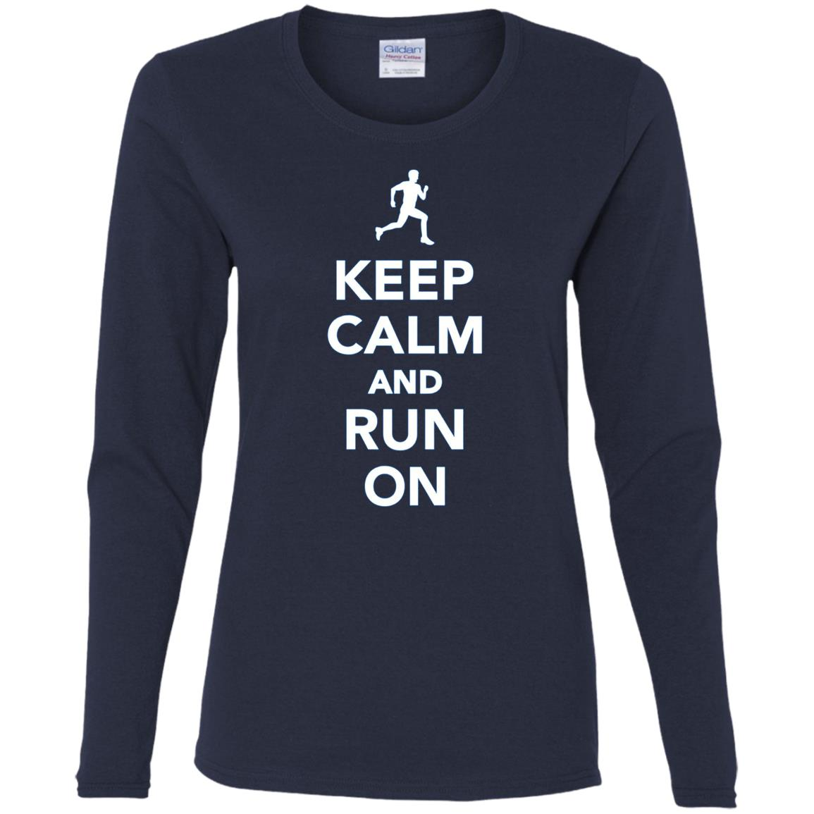 Keep calm and run on Women Long Sleeve T-Shirt