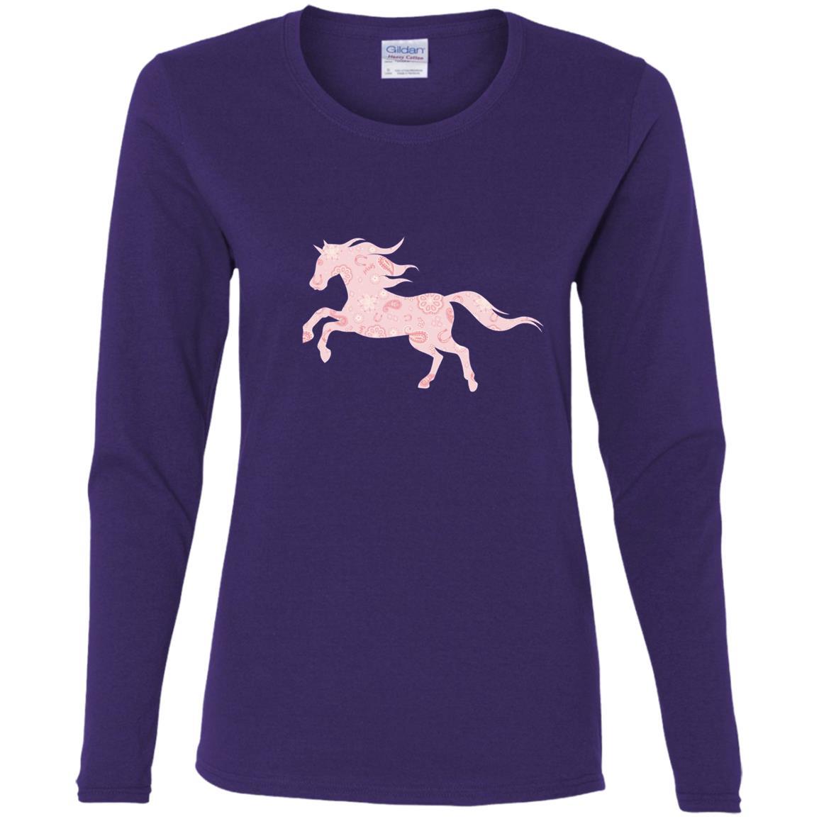 Kids DreamWorks Spirit Riding Free – Pink Horse Women Long Sleeve T-Shirt