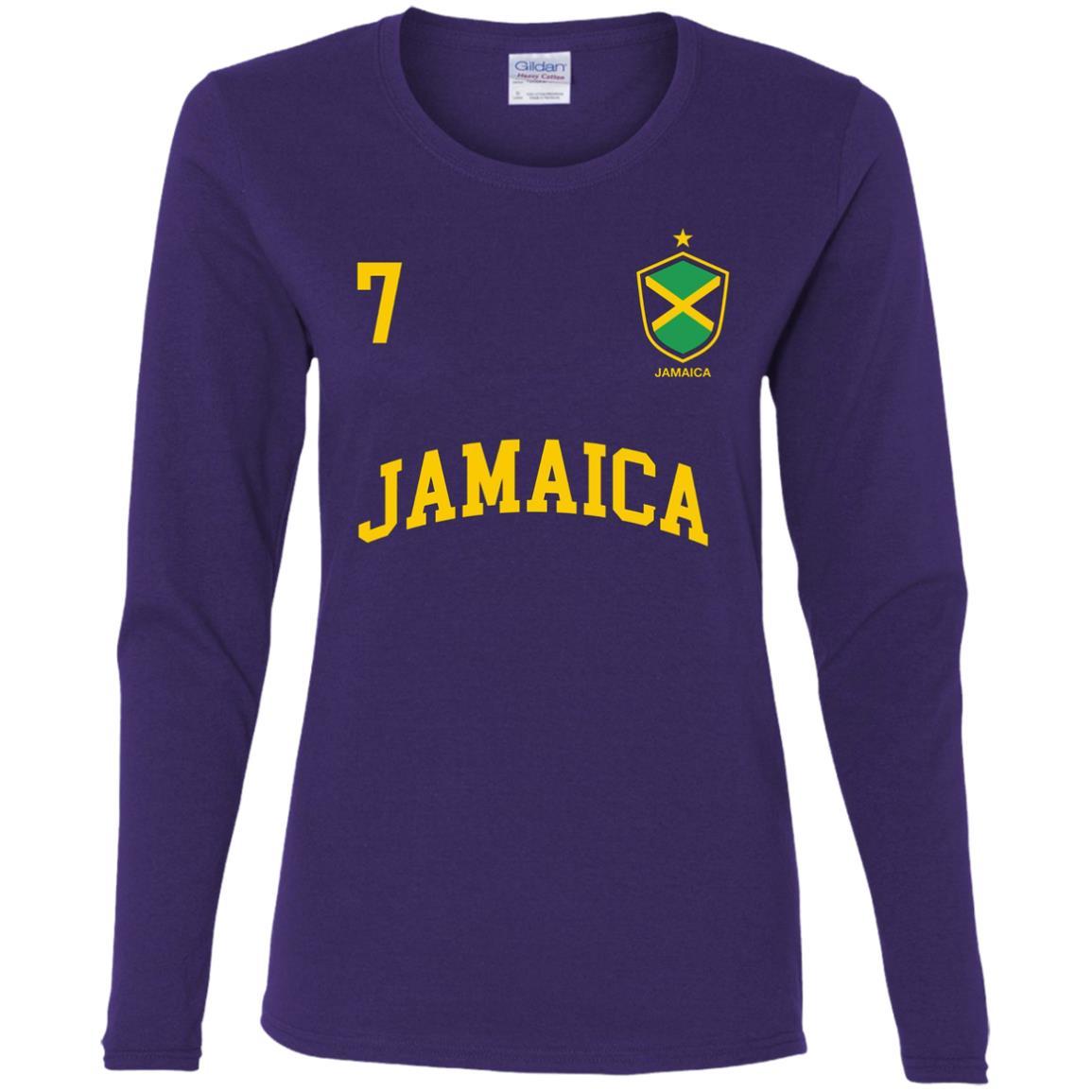Jamaica Number 7 BACK Soccer Team Sport Jamaican Flag Women Long Sleeve T-Shirt