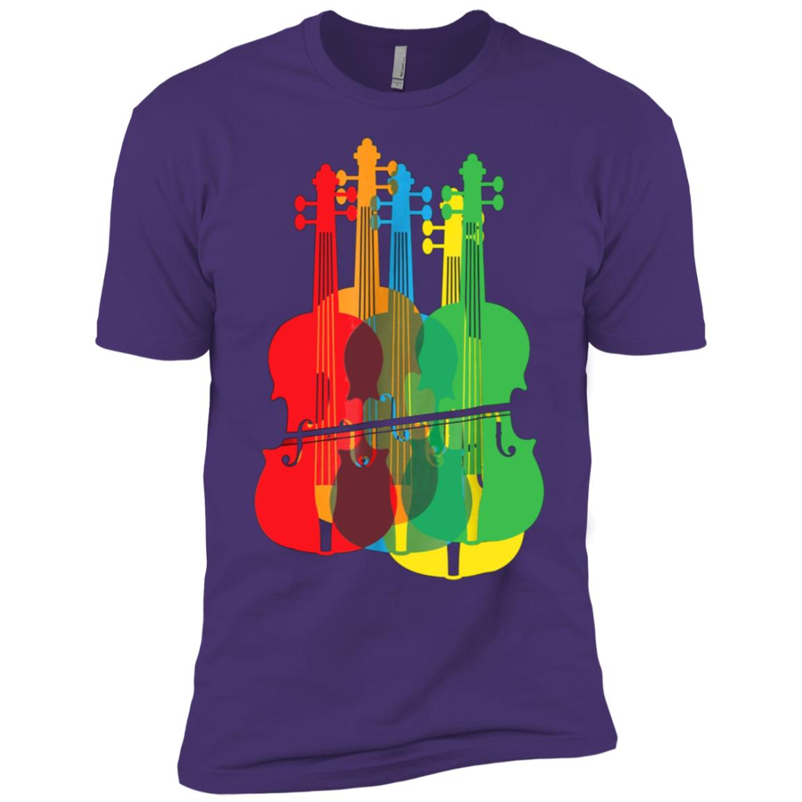Multicolored Violins Birthday Gift For Musicians Men Short Sleeve T-Shirt