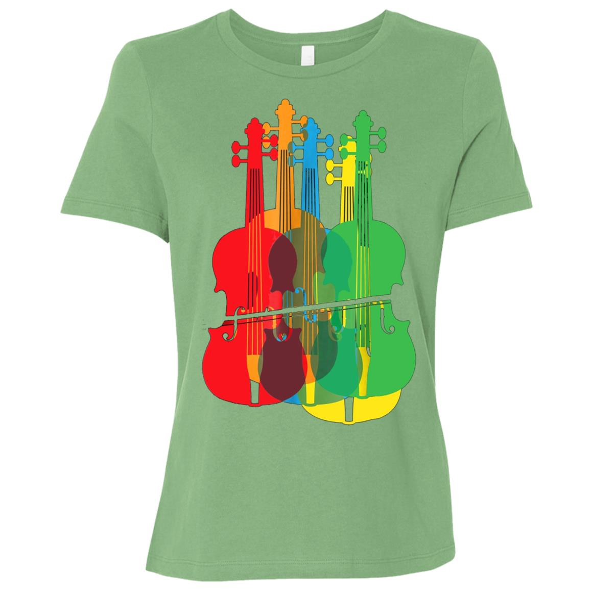 Multicolored Violins Birthday Gift For Musicians Women Short Sleeve T-Shirt