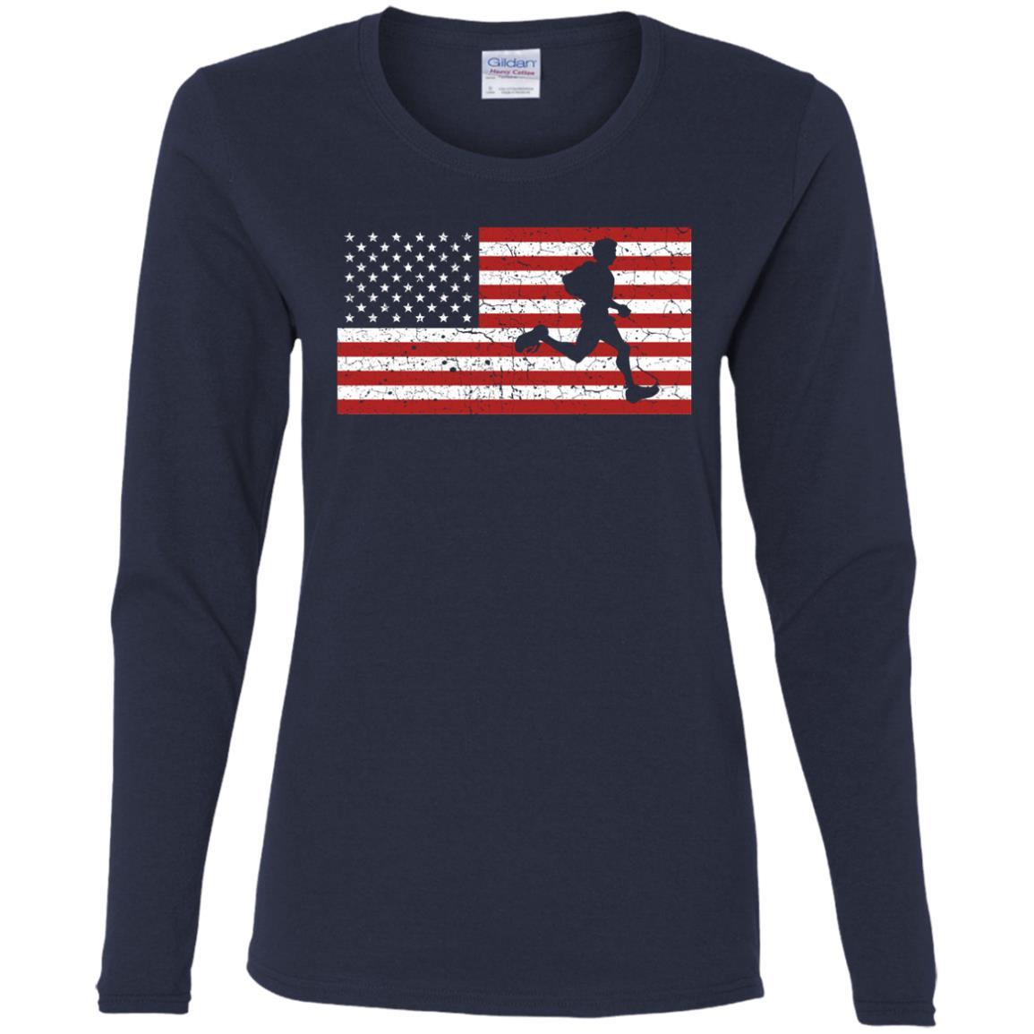 American Flag Running Runner Gift Men Women Women Long Sleeve T-Shirt
