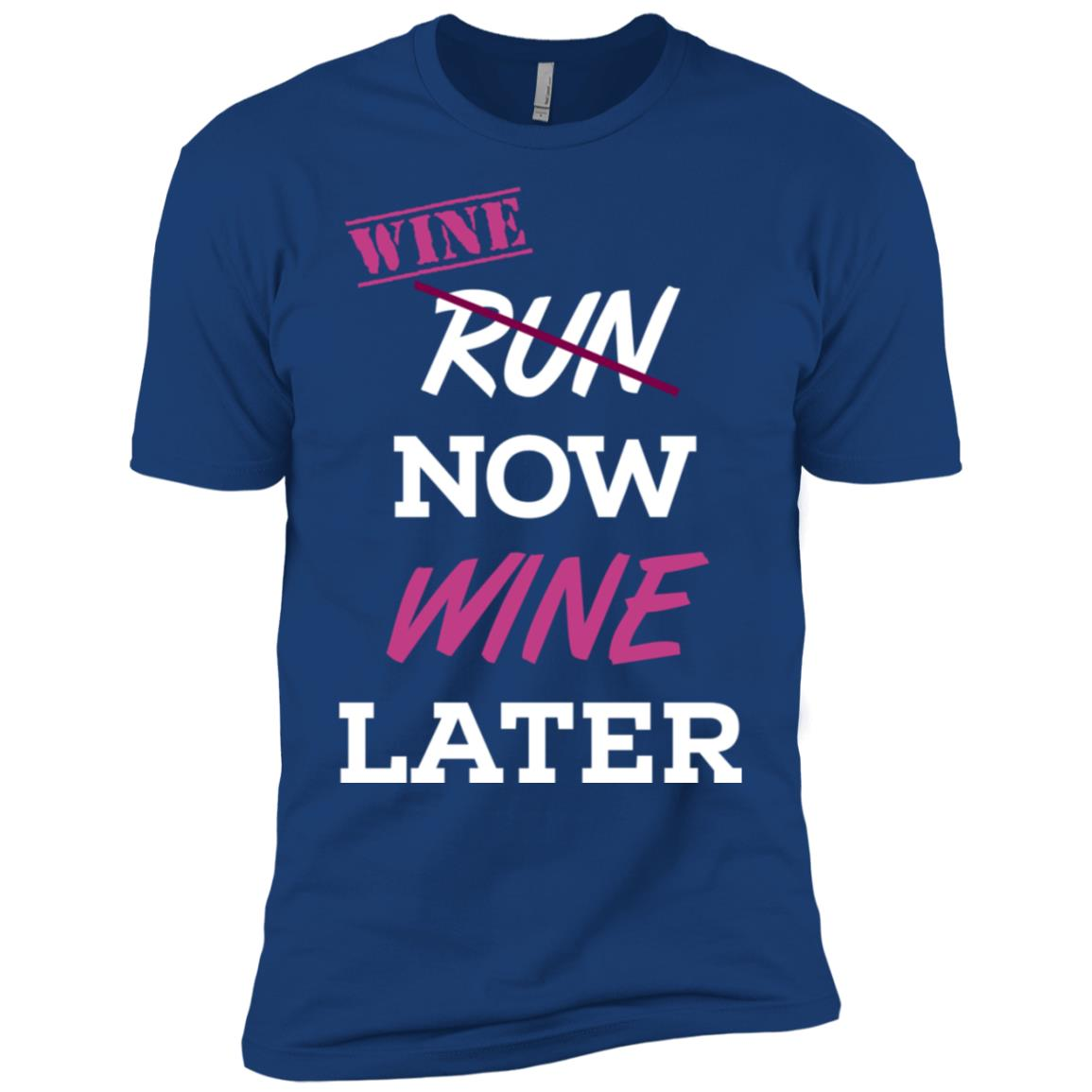 Run Crossed Out Wine Now Wine Later Fun Men Short Sleeve T-Shirt