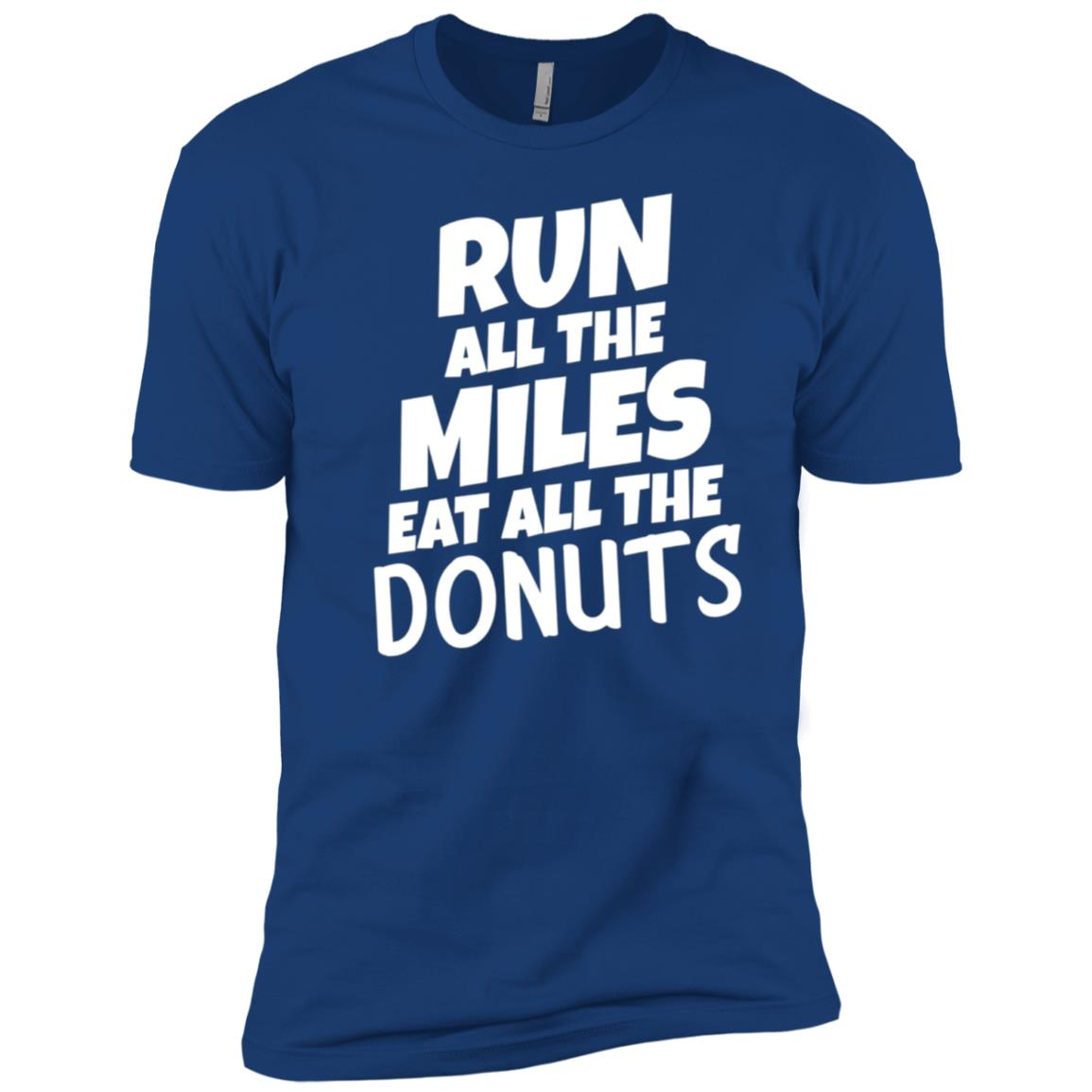 Run All The Miles Eat All The Donuts Funny Running Men Short Sleeve T-Shirt
