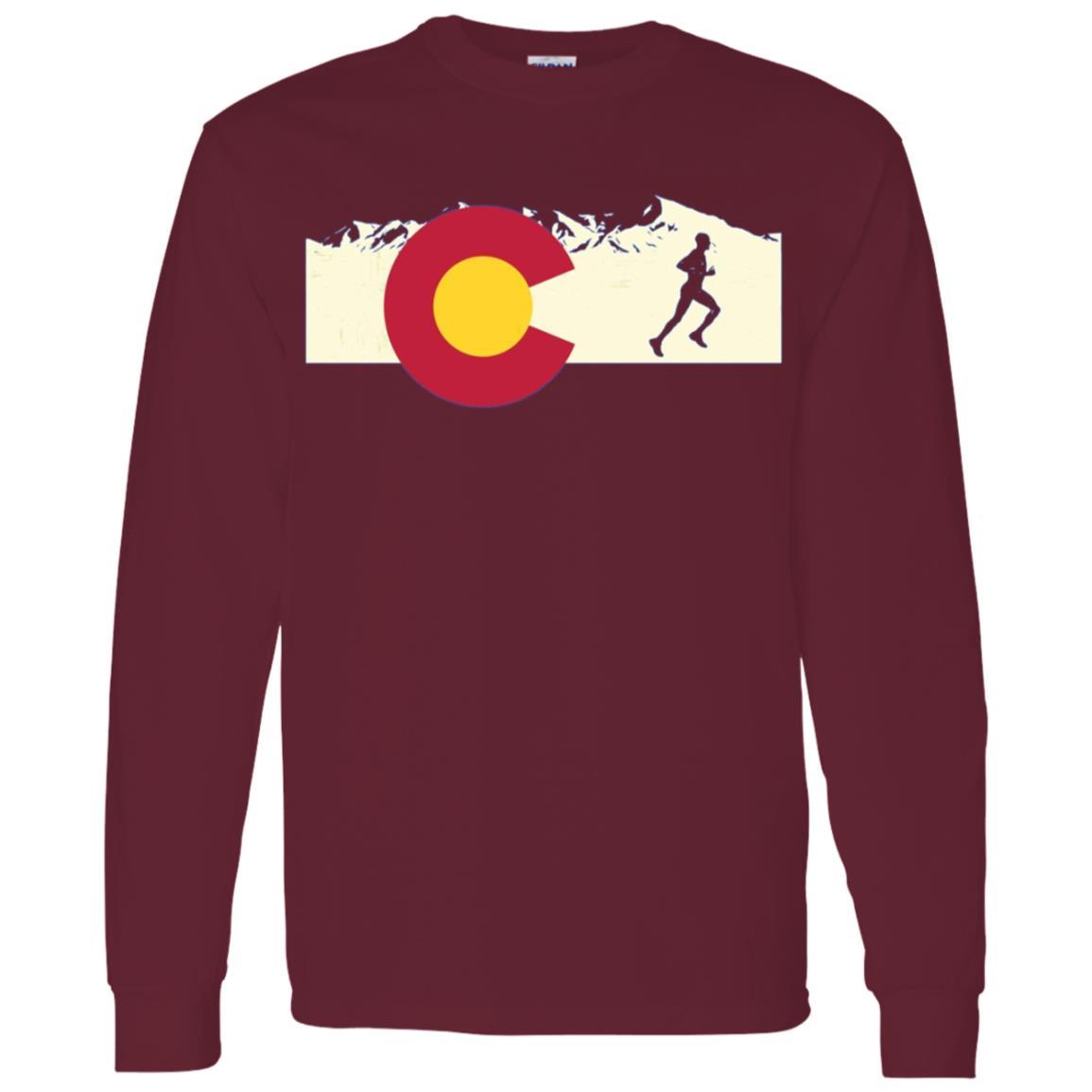 Run Colorado Pride Men Running Men Long Sleeve T-Shirt