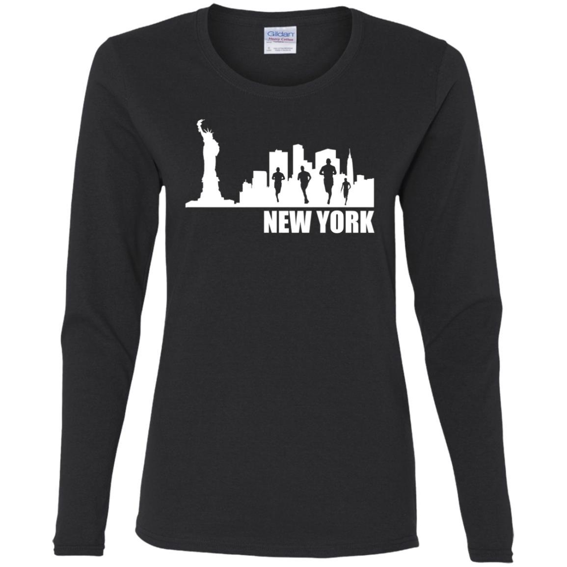 Run NYC – New York City Skyline Running Women Long Sleeve T-Shirt