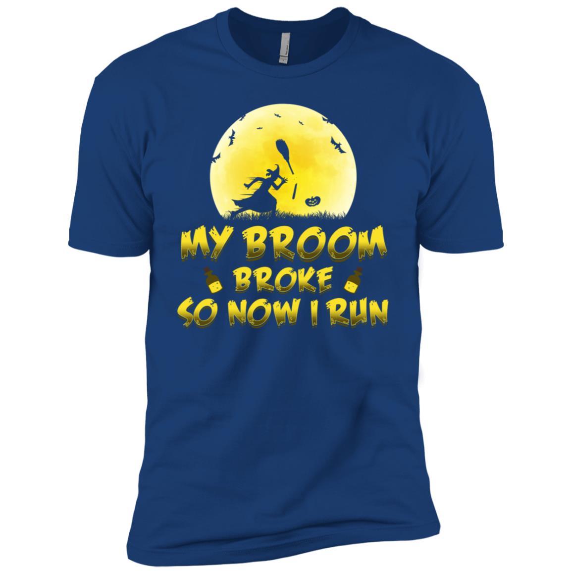 Running Halloween Funny Broom Broke Quote Men Short Sleeve T-Shirt