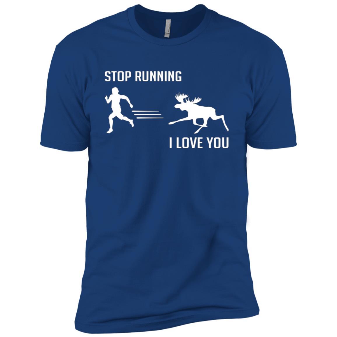 Stop Running – Moose Chasing, Funny Cute Moose Men Short Sleeve T-Shirt