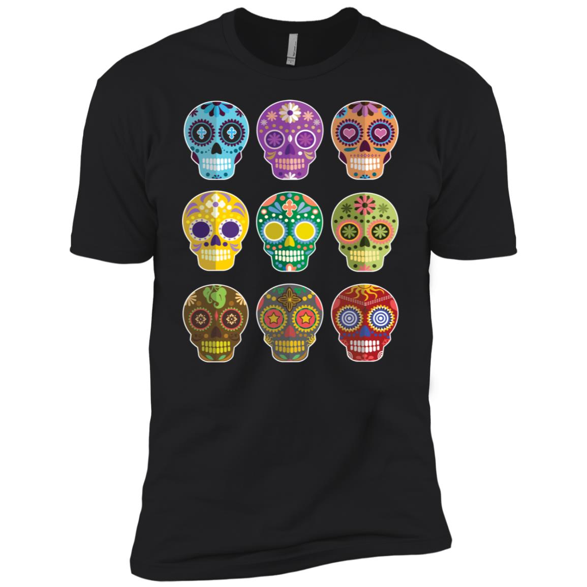 SKULLS GALORE 9 UNIQUE COLORFUL RETRO VINTAGE Long Men Short Sleeve T-Shirt