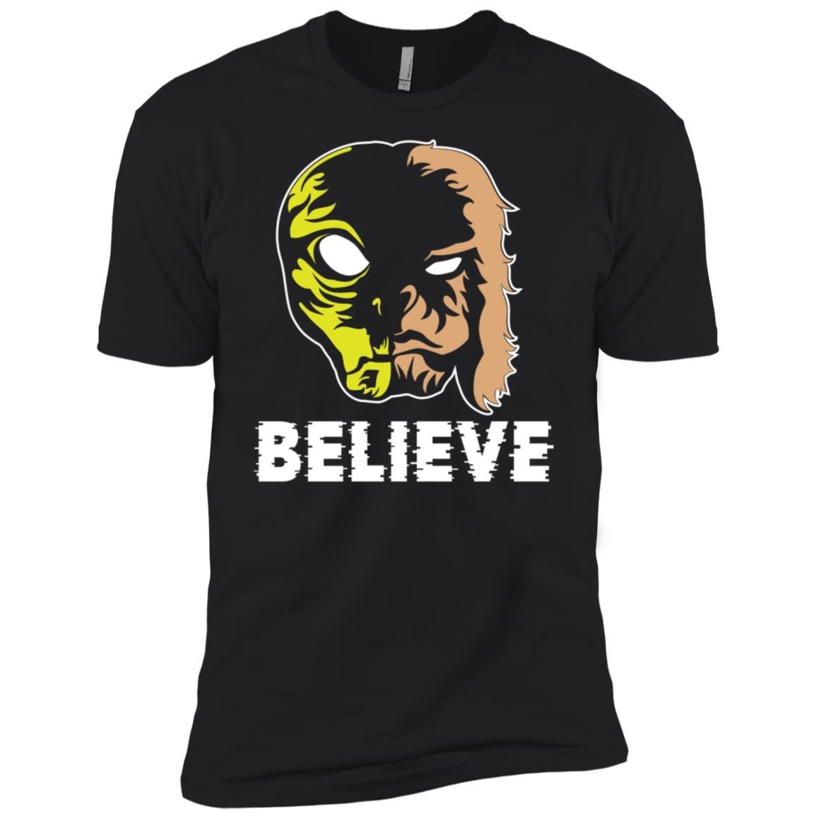 Aliens UFO and Bigfoot LS Tee join forces Funny Believe Men Short Sleeve T-Shirt