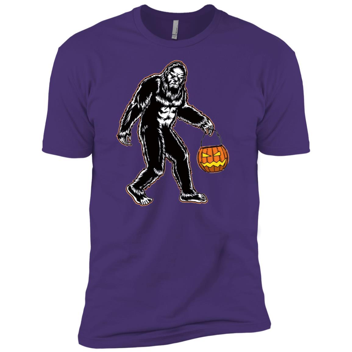 Funny Bigfoot Art Halloween and Pumpkin Men Short Sleeve T-Shirt