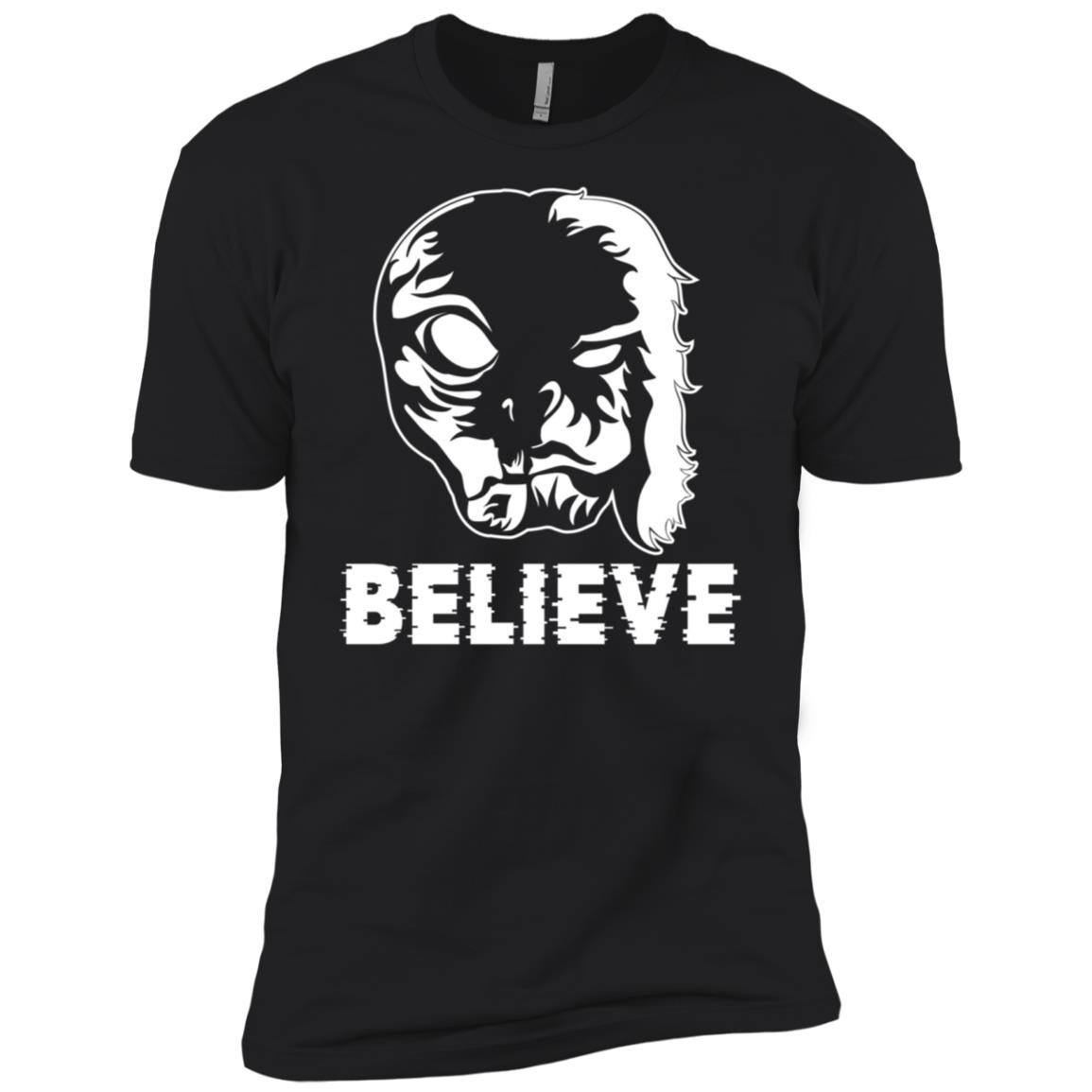 Aliens UFO and Bigfoot LS join forces Funny Believe Men Short Sleeve T-Shirt